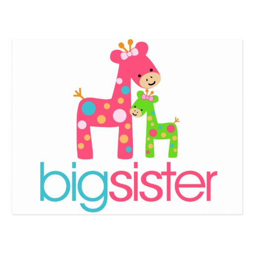 Funky Giraffe Big Sister Tshirt Postcard