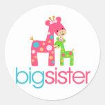 Funky Giraffe Big Sister Tshirt Round Sticker