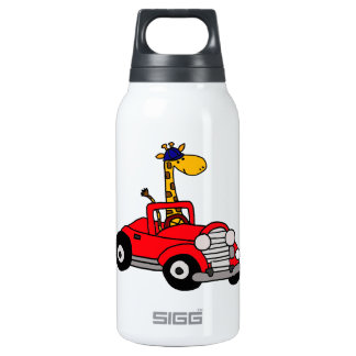 Funky Giraffe Driving Red Convertible Insulated Water Bottle