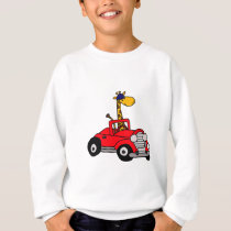 Funky Giraffe Driving Red Convertible Sweatshirt