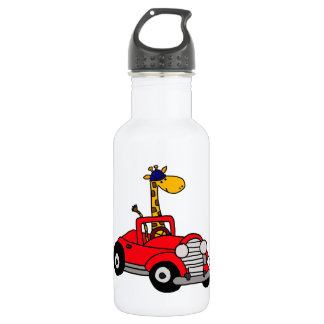 Funky Giraffe Driving Red Convertible Water Bottle