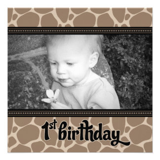 Funky Giraffe First Birthday Party Invitation