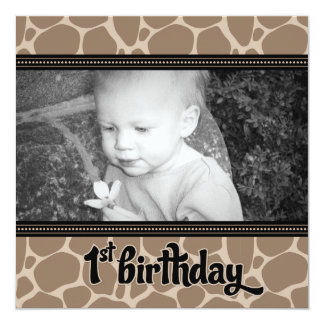 "Funky Giraffe First Birthday Party Invitation 5.25"" Square Invitation Card"