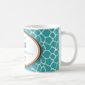 Funky Giraffe Print Custom Graduation Mug (aqua)