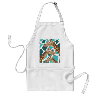 Funky Giraffe Print Teal Blue Wild Animal Pattern Adult Apron