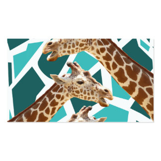 Funky Giraffe Print Teal Blue Wild Animal Pattern Business Card Templates