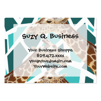 Funky Giraffe Print Teal Blue Wild Animal Pattern Business Card Template