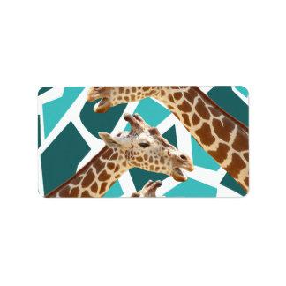 Funky Giraffe Print Teal Blue Wild Animal Pattern Address Label