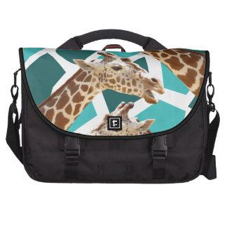 Funky Giraffe Print Teal Blue Wild Animal Pattern Bags For Laptop