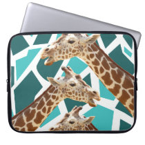 Funky Giraffe Print Teal Blue Wild Animal Pattern Laptop Sleeve