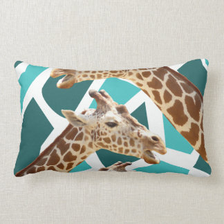 Funky Giraffe Print Teal Blue Wild Animal Pattern Lumbar Pillow