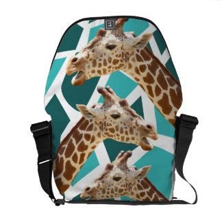 Funky Giraffe Print Teal Blue Wild Animal Pattern Messenger Bags