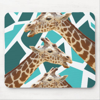 Funky Giraffe Print Teal Blue Wild Animal Pattern Mouse Pad