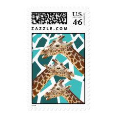 Funky Giraffe Print Teal Blue Wild Animal Pattern Postage