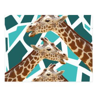 Funky Giraffe Print Teal Blue Wild Animal Pattern Postcards