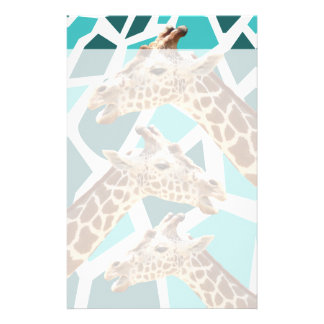 Funky Giraffe Print Teal Blue Wild Animal Pattern Personalized Stationery