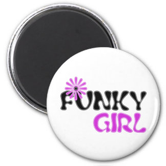 funky girl 2 inch round magnet