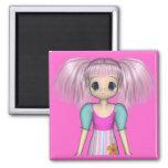 Funky Girl Anime Kid Magnet 2 Inch Square Magnet