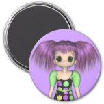 Funky Girl Anime Kid Magnet 3 Inch Round Magnet