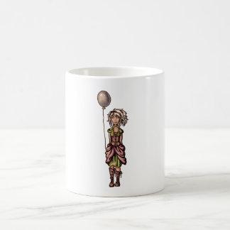 Funky Girl Cartoon Drawing with Balloon Coffee Mug