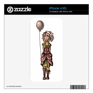 Funky Girl Cartoon Drawing with Balloon iPhone 4 Decal