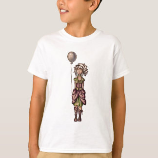Funky Girl Cartoon Drawing with Balloon T-Shirt