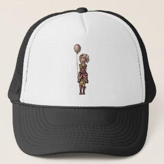 Funky Girl Cartoon Drawing with Balloon Trucker Hat