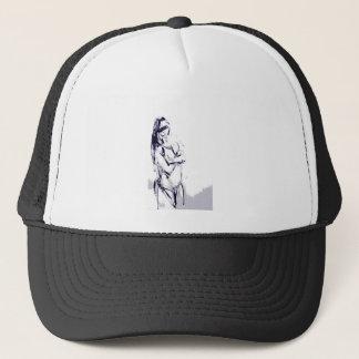 Funky girl design drawing trucker hat