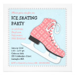 Funky Girl Ice Skating Birthday Party Custom Announcements