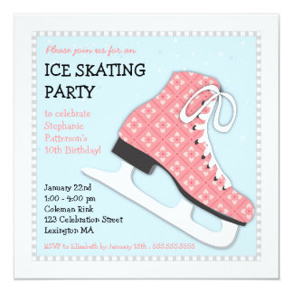 Funky Girl Ice Skating Birthday Party 5.25x5.25 Square Paper Invitation Card