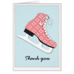 Funky Girl Ice Skating Party Thank You Note Card