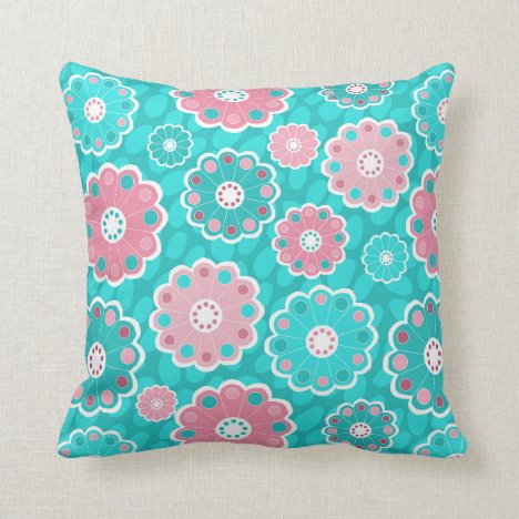 Funky girls aqua and pink floral throw pillow