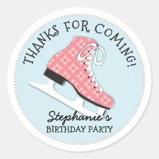 Funky Girls Ice Skate Birthday Thank You Sticker
