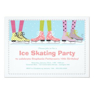 Funky Girls Ice Skating Birthday Party 5x7 Paper Invitation Card