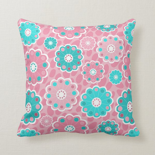 Funky girls pink and aqua floral throw pillow