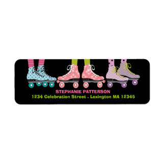 Funky Girls Roller Skating Address Labels
