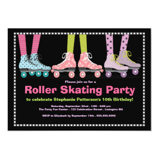 Funky Girls Roller Skating Birthday Party Card