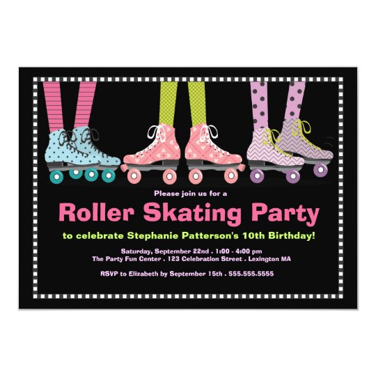 funky girls roller skating birthday party card | zazzle, Birthday invitations