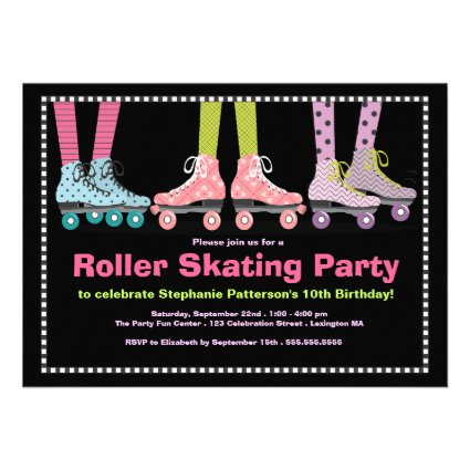 Funky Girls Roller Skating Birthday Party Personalized Invitation