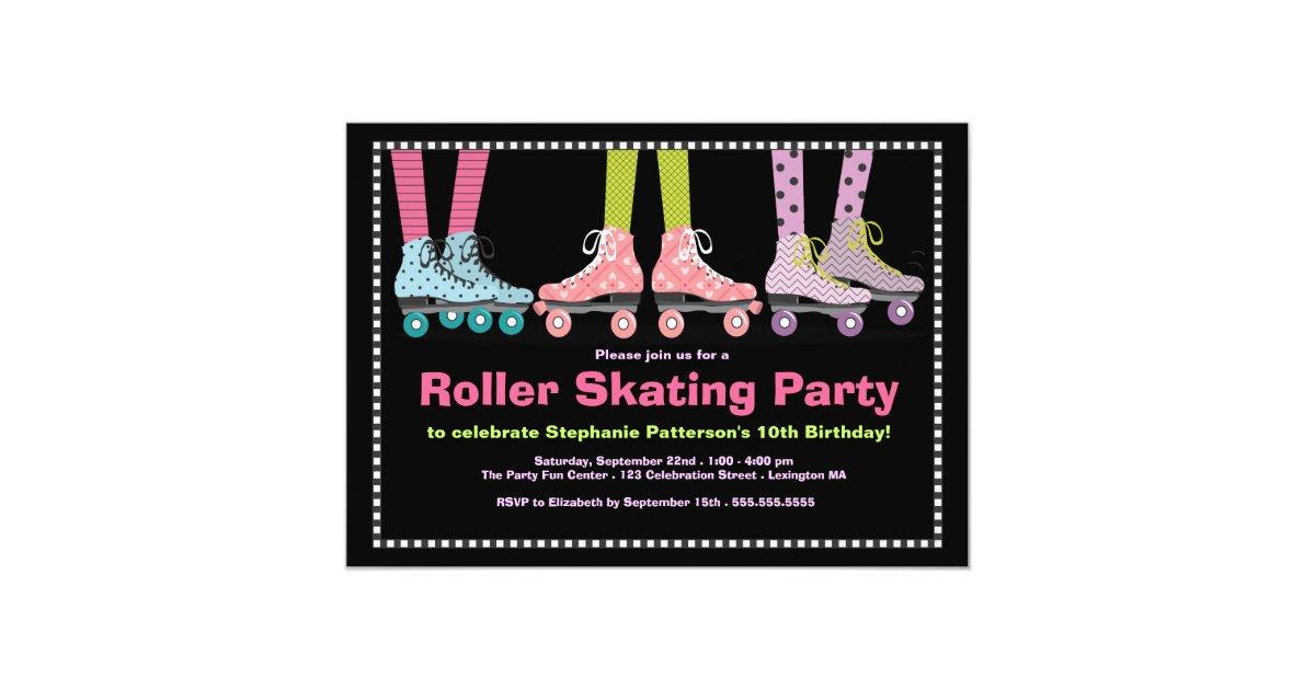 Funky Girls Roller Skating Birthday Party Invitation | Zazzle.com