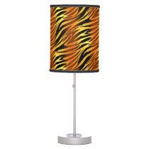 Funky Gold & Black Zebra Animal Pattern Desk Lamp