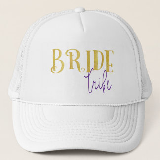FUNKY GOLD BRIDE TRIBE WITH PURPLE TRUCKER HAT