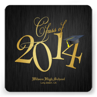 Funky Gold Class of 2014 Graduation Invitations