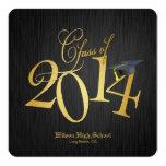 Funky Gold Class of 2014 Graduation 5.25x5.25 Square Paper Invitation Card