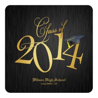 Funky Gold Class of 2014 Graduation Invitations