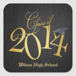 Funky Gold Class of 2014 Graduation Stickers