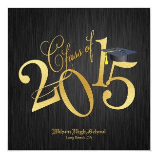 funky gold class of 2015 graduation invitation