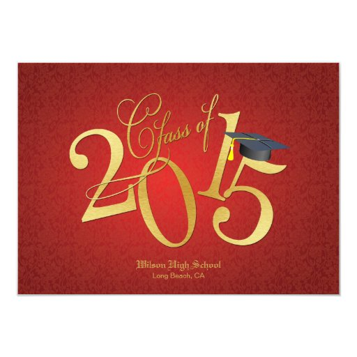 Funky Gold Class of 2015 Graduation Customized Invitation Cards