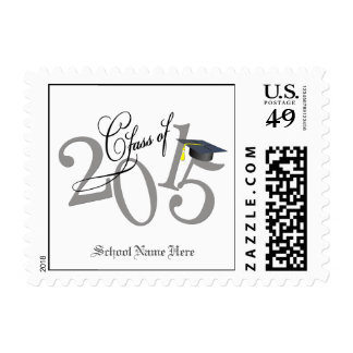 Funky Gold Class of 2015 Graduation Postage