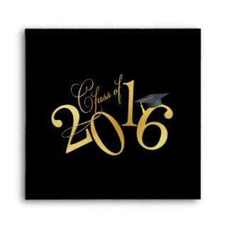 Funky Gold Class of 2016 Graduation Envelope